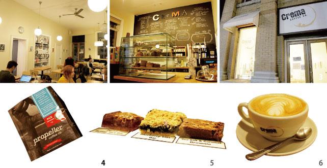 ▲(上)ブラウニーやタルトバー、マフィンなどのスイーツもあり (左下)お店のカプチーノはPropeller coffeeのACE espressoを使っている  (右下)店員おすすめのカプチーノ$3.76