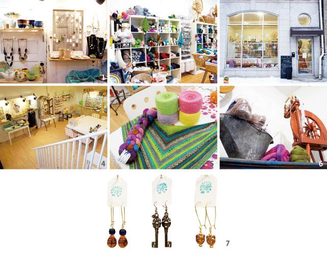 1.地元のスタジオの陶器やオーナー手作りのジュエリー 2.メインフロアでは手芸材料が中心に並ぶ  3.外から見ても店内の温かい雰囲気が伝わってくる 4.ビーズやチャームなどのアクセサリーパーツは下の階にある  5.並べられた編み糸は店内で染色されたもの 6. オーナーは実際に右の織機を使って糸を編んでいる 7. オーナー手作りの  ジュエリー