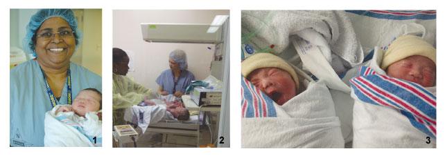 1. 長女誕生時、 お世話になったドクターと 2. 手術スタッフから 病棟スタッフに引き継がれる双子 3. 次女、三女誕生時