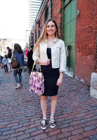 Michaela/HomeSense Clerk 花柄のバッグ。