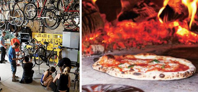 (左)自転車の修理の仕方も学べる(右)評判のいい 本格窯焼きピザ