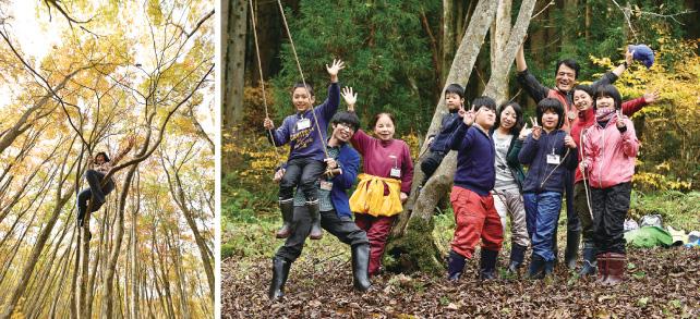 (左)自分の限界を超えて高く高く登れた (右) アファンの森で遊ぶ内に、皆が笑顔を取り戻す