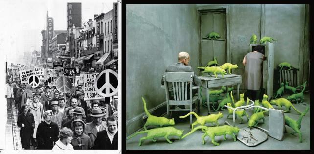 (左) Frank Grant, Ban the Bomb protest crowd in a Toronto street, October 4, 1061. York University Library, Clara Thomas Archives & Special Collections, Toronto Telegram fonds, ASC 08191 (右). Sandy Skoglund, Radioactive Cats, 1980. Smith College Museum of Art, Northampton, Massachusetts.