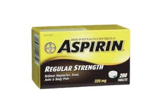 Aspirin(アスピリン) Regularタイプは325mg、Extra Strengthは500mgのアセチルサリチル酸が配合されている。胃の中で速やかに吸収され、すばやく解熱鎮痛及び抗炎症作用を発揮する。