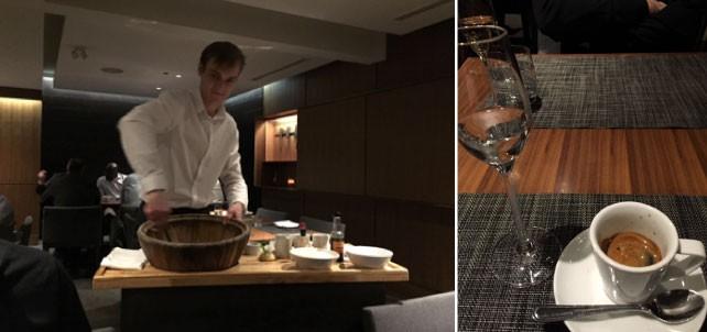(左)目の前で作ってくれるシーザーサラダは毎回必ず注文。(右)食べ過ぎた時はエスプレッソにグラッパを垂らしたCafe Correttoで胃をスッキリ。