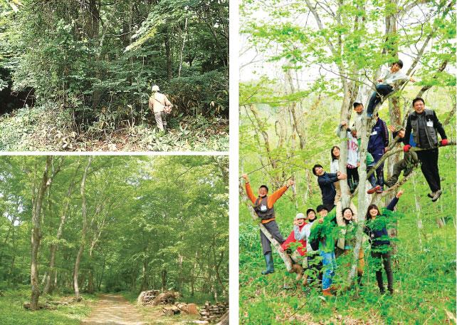 (左上)1988年7月の昔のアファンの森入り口(左下)2012年6月の今のアファンの森入り口(右)5センスプロジェクトで笑顔いっぱいの子ども達