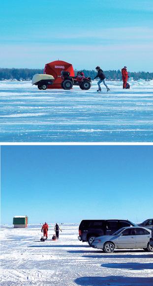 上: 氷上でスケートとアイスフィッシング さすが、カナディアン!! 下:氷上の無料駐車場から、そりを引っ張って、さぁ出発っ!★