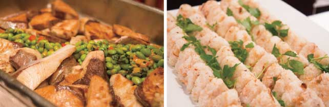 (左)日本産のブリ (右)日本のお米を使った鮭おにぎり