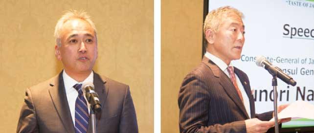 (左)乾杯の音頭をとるJETRO中村所長  (右)和食の世界的普及について語る中山トロント総領事