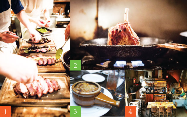 1 : Naturally Raised Flat Iron Steak 2 : Roast Chop of Whey Fed Pork 3 : Baked Caramelized Onion Soup 4 : キッチン前のテーブルはフードファンに大人気