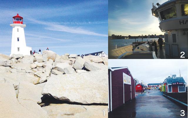 1 赤い帽子の灯台、ペギーズ・コーブ 2 通学に使う船から望むハリファックス 3 静かな冬のウォーターフロント