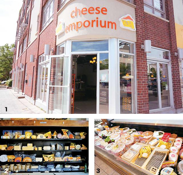 1思わず中を覗きたくなってしまう外観 2 ずらりとならべられたチーズ 3 お店の奥にもまだまだたくさんのチーズが!