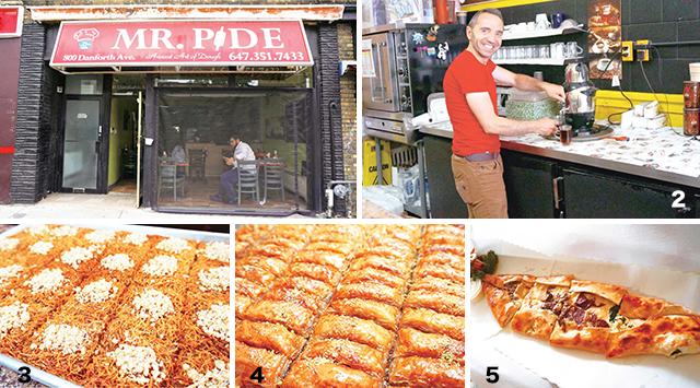 1 赤い看板が目印   2 気さくなオーナー   3 KADAYIF/デザート $2 4 BAKLAVA/デザート $1.50 5 一番人気の18番Karisik