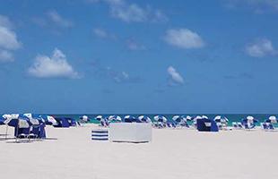 パラソルが並ぶマイアミビーチ。一時間20ドル