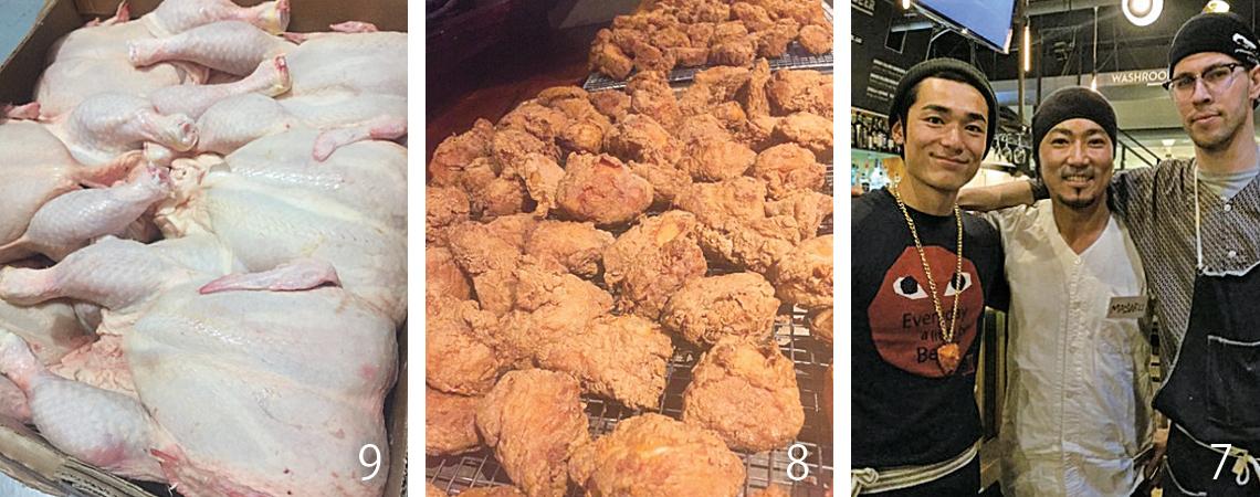 7Fried Chicken Battleの対戦相手の一人、Gushiのシンジさん。次はお互い頑張りましょう!! 8胸肉とモモ肉で約300ピース程用意しました 9この20羽を一人で捌きました