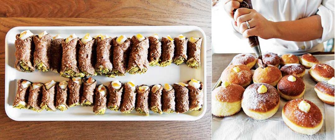 左:パリパリの生地と チーズクリームが絶妙なCannoli、右:ふっくらふわふわドーナツ
