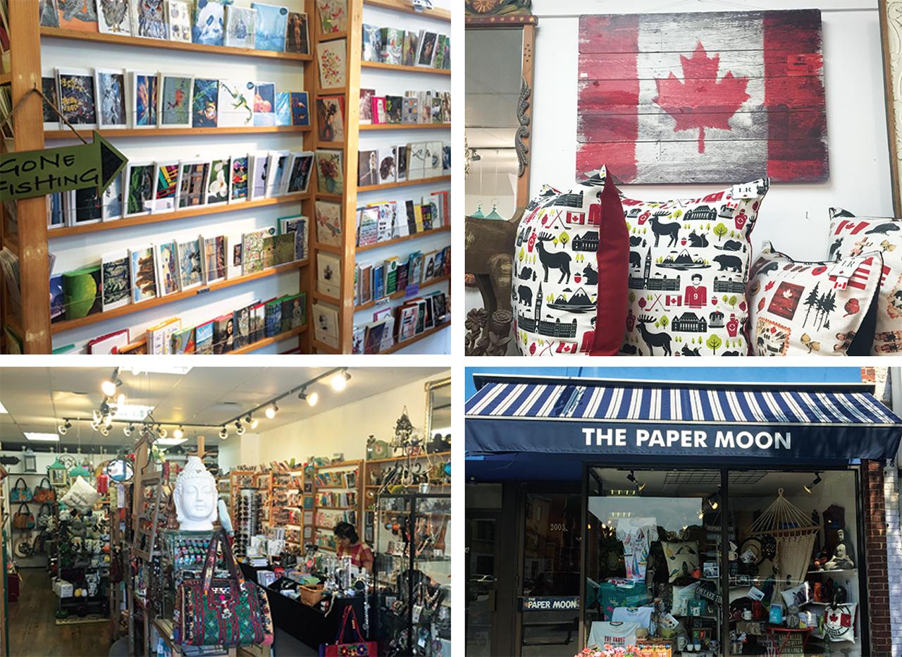 左上:様々な種類のグリーティングカード 右上: カナダらしいイラストが描かれた雑貨も多数用意  左下:所狭しと並べられる雑貨  3右下:店先にもたくさんの雑貨が展示されている