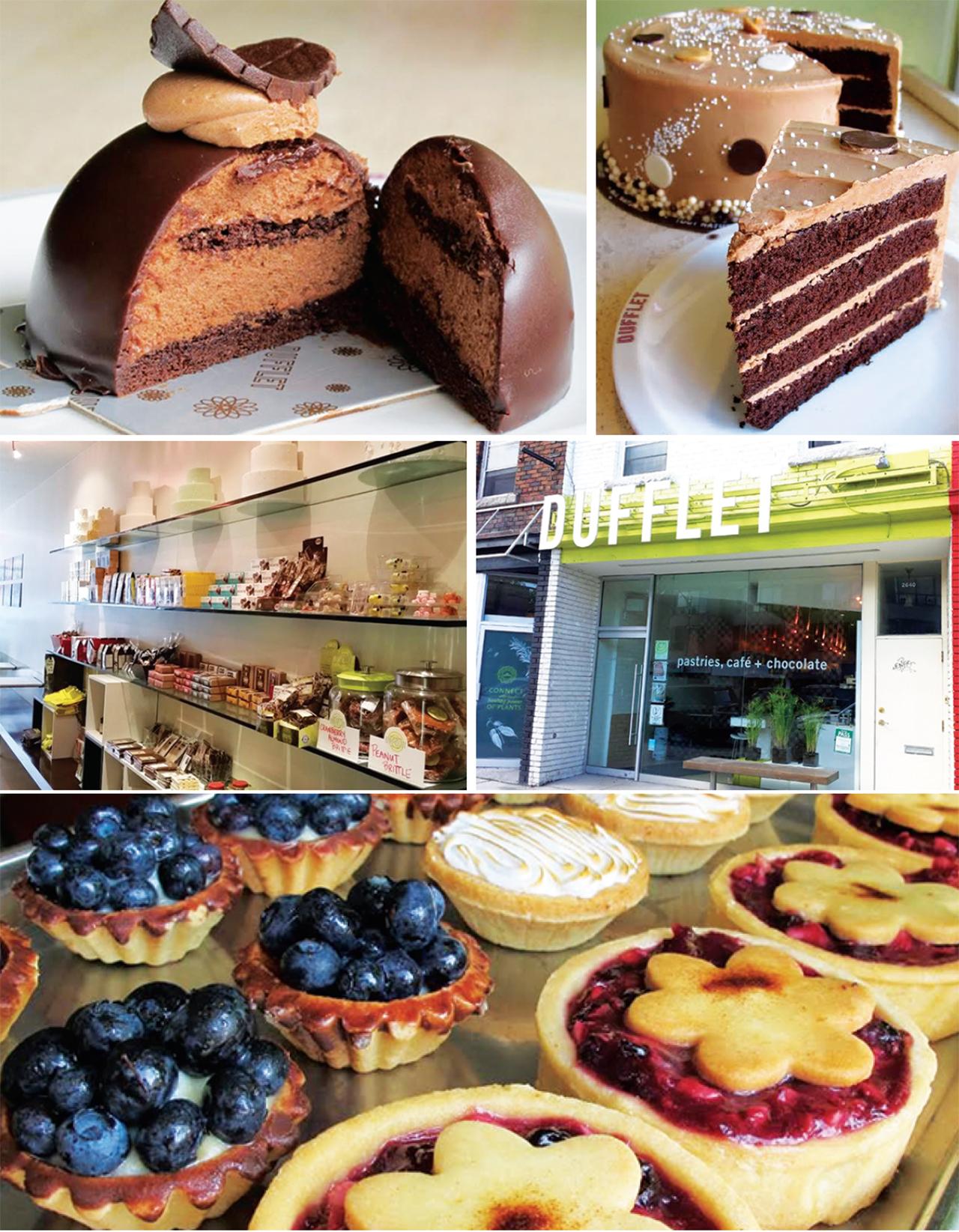 左上:濃厚なチョコレートを楽しめるケーキ 右上:可愛らしいデコレーションがされたホールケーキ  左中:ケーキ以外のチョコレートなども販売している   右中: 大きなDUFFLETが目印  下:フルーツがふんだんに使われたタルト