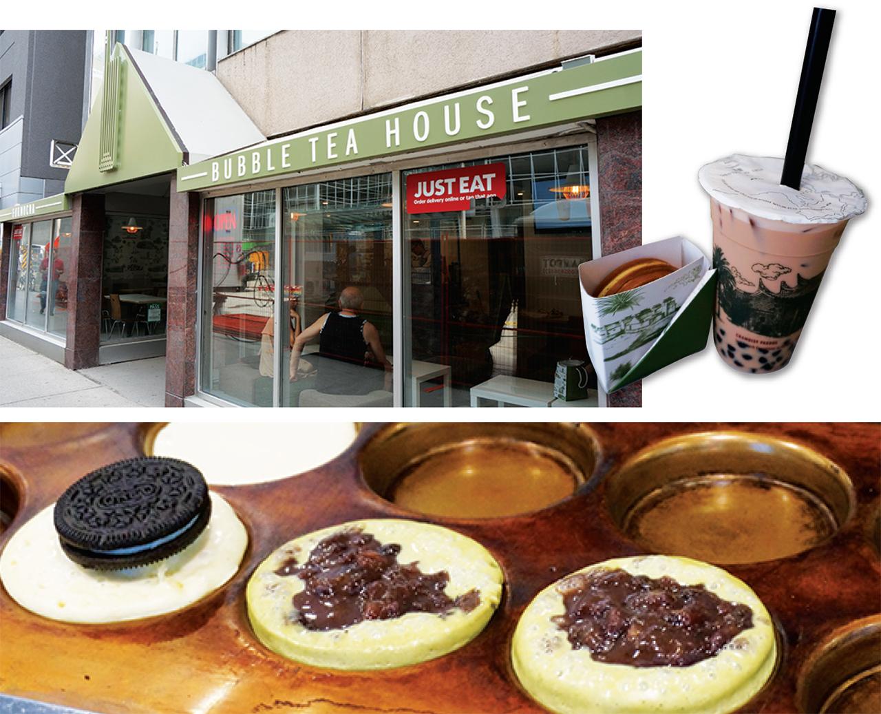 左上:外観の様子  右上: ドリンク+$2でデザートもつくお得なコンボ   下: 店内で作られる手作りデザート