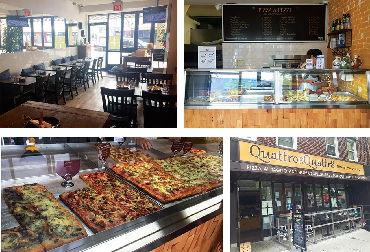 左上: 店の右側:レストラン  右上: 店の左側:テイクアウト専門   左下: 常時10種類ほどのピザがずらりと並ぶ   右下:外観の様子
