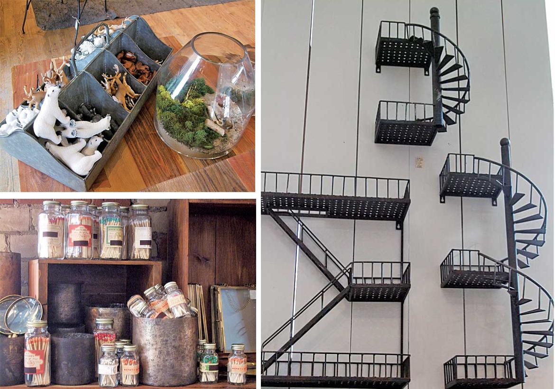 右:階段の形のとってもユニークな花壇用装飾 左上:観賞用植物の植木鉢。小さな動物のフィギュアをいれるとよりcute