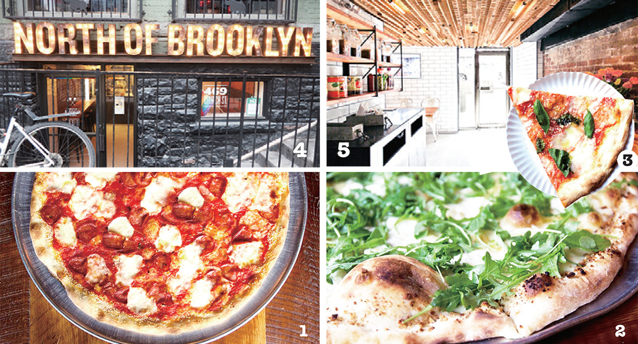 1 18インチのラージピザはホームパーティーにおすすめ   2 14インチのスモールピザはCAD13〜  3 スライスはCAD4.2から! 4 目を奪う店舗外観品揃え 5 すっきりと明るい店内