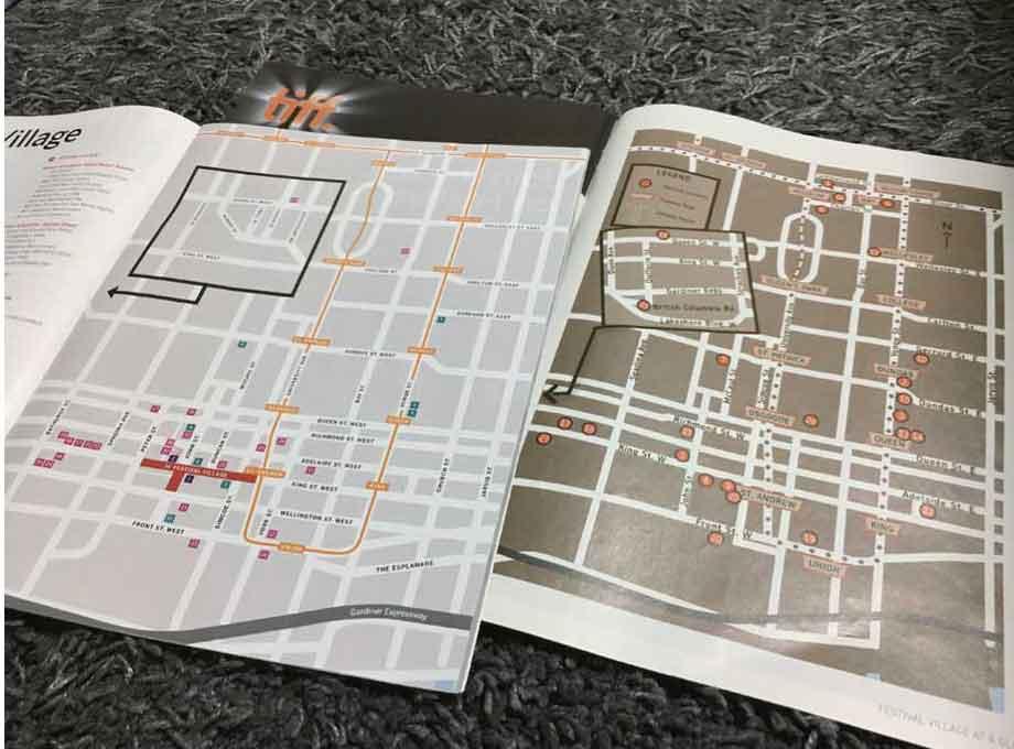 2009年(右)と2018年(左)の会場地図(TIFF発行の冊子より)