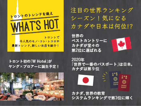 注目の世界ランキング シーズン!気になるカナダや日本は何位!?|トロントのトレンドを追え!WHAT'S HOT