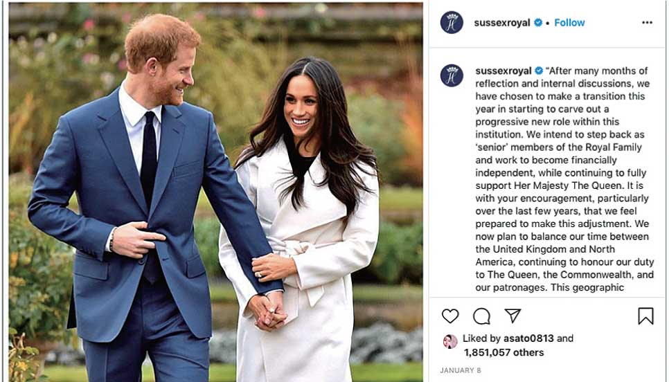 The official Instagram account of The Duke and Duchess of Sussex
