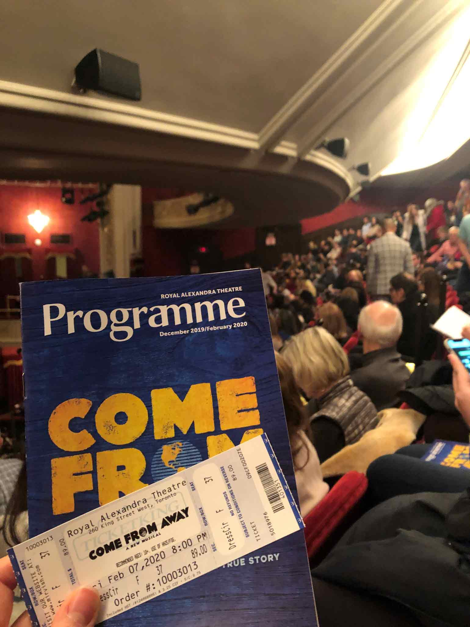 『Come From Away』を観たRoyal Alexandra Theatreにて。