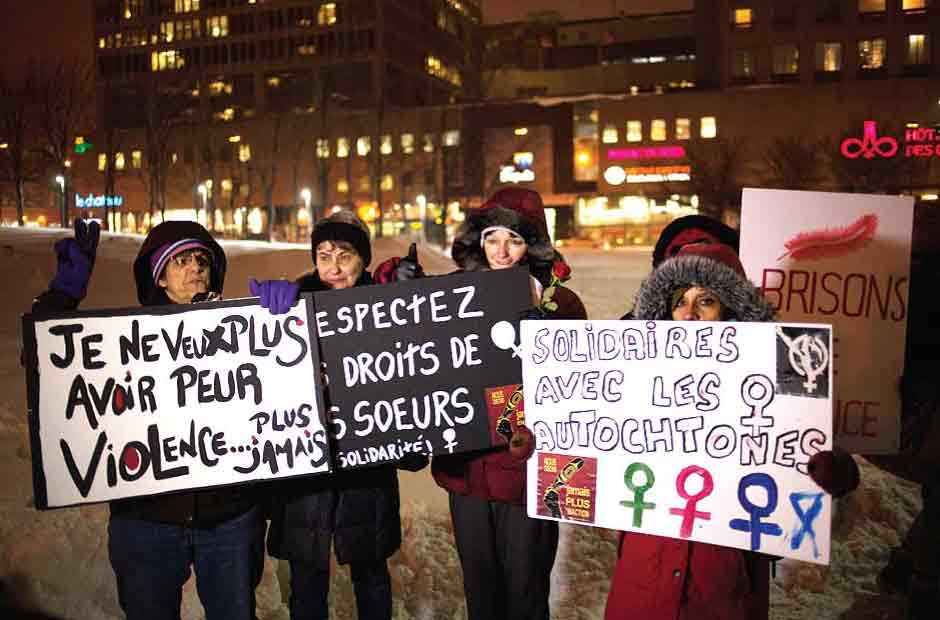 Protesters for Missing and Murdered Indigenous Women's campaign Photo by Howl Arts Collective