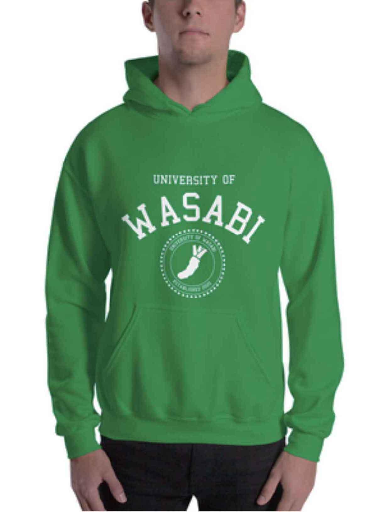 トロント大学をオマージュした「University of WASABI」のロゴフーディー。